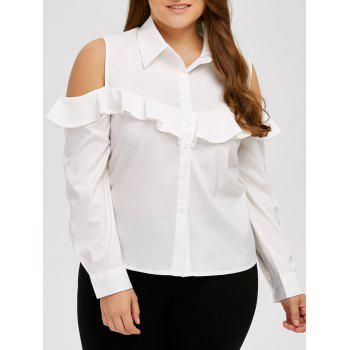 Cold Shoulder Ruffle Long Sleeve Shirt
