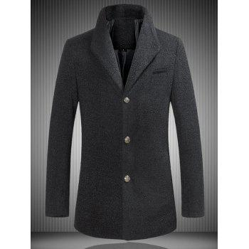Single Breasted Stand Collar Woolen Coat - BLACK BLACK