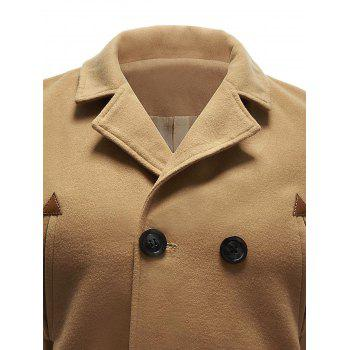 Pocket Wool Blend Back Vent Pea Coat - KHAKI XL