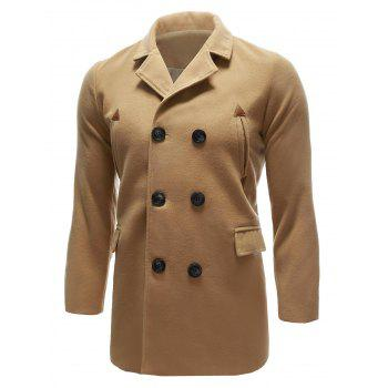 Pocket Wool Blend Back Vent Pea Coat - KHAKI M