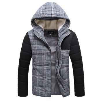 Flocking Hooded Zippered Plaid Padded Jacket