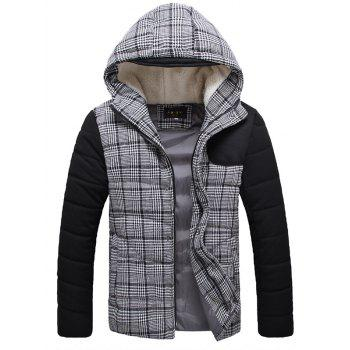 Flocking Hooded Zippered Plaid Padded Jacket - GRAY GRAY