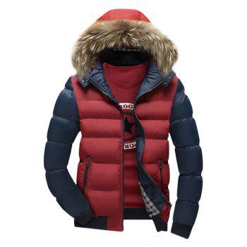 Faux Fur Hooded Zip Pocket Padded Jacket