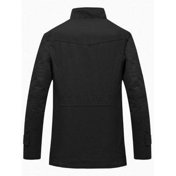 Zip Up Pocket Epaulet Design Jacket - BLACK XL