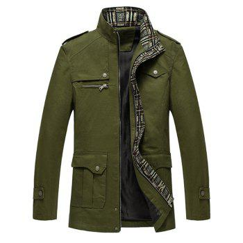 Zip Up Pocket Epaulet Design Jacket - ARMY GREEN ARMY GREEN