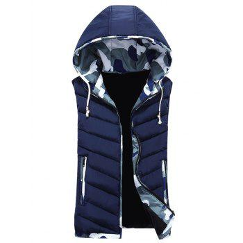 Camouflage Hooded Zip-Up Down Waistcoat
