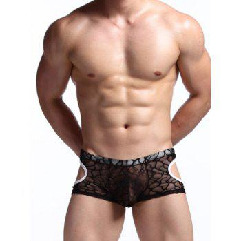 See Through Lace Mesh Cut Out Boxer Briefs