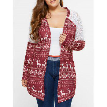 Plus Size Lace Trim Tribal Cardigan