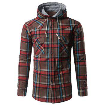 Button Up Chest Pocket Hooded Plaid Shirt