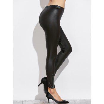 Side Zippers Faux Leather Pants