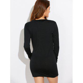 Casual Lace-Up Long Sleeve Popover Dress - BLACK BLACK