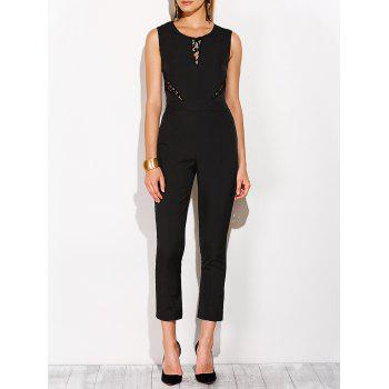 Fitted Lace Insert Sleeveless Jumpsuit