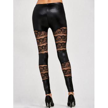 Lace Insert PU Leather Leggings - ONE SIZE ONE SIZE