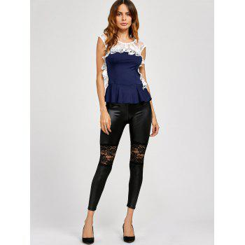 Lace Panel Leather Leggings - BLACK ONE SIZE