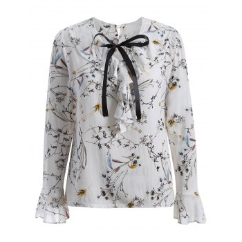 Pussy Bow Flower Printed Ruffled Blouse