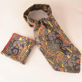 Paisley Floral Square Pocket Hanky and Cravat - BROWN BROWN