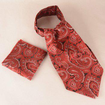 A Set of Jacquard Print Square Pocket and Cravat
