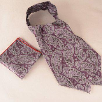 A Set of Cashew Floral Print Square Pocket and Cravat