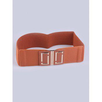 PU Leather Coat Wear Buckle Elastic Wide Belt