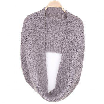 Twisted Knitted Infinity Scarf - GRAY