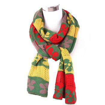 Flower Color Block Knitted Scarf - YELLOW