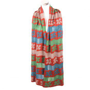 Flower Color Block Knitted Scarf - GREEN