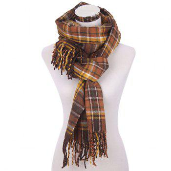 Plaid Fringe Knitted Scarf