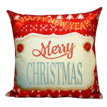 Merry Christmas Floral Printed Sofa Pillow Case