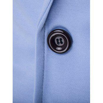 Slim Fit Lapel Single Breasted PU Pocket Jacket - LIGHT BLUE XL