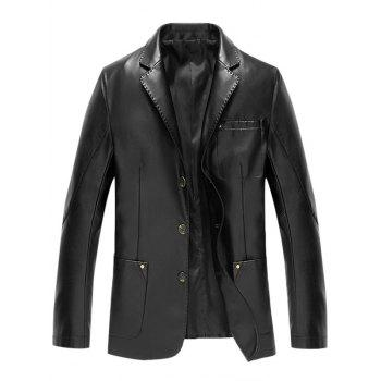 Button Up Lapel Pocket PU Leather Jacket