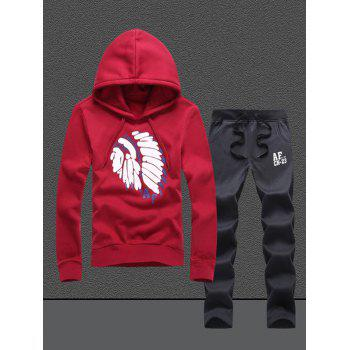 Native Printed Pullover Hoodie and Sweatpants Twinset - RED XL