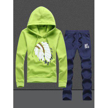 Native Printed Pullover Hoodie and Sweatpants Twinset - GREEN 4XL