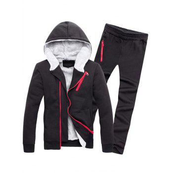 Zipper Embellished Color Block Hoodie and Sweatpants Twinset - BLACK 2XL