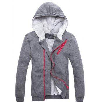 Zipper Embellished Color Block Hoodie and Sweatpants Twinset - 3XL 3XL