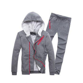 Zipper Embellished Color Block Hoodie and Sweatpants Twinset - DEEP GRAY M