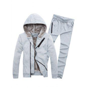 Zipper Embellished Color Block Hoodie and Sweatpants Twinset - LIGHT GRAY XL