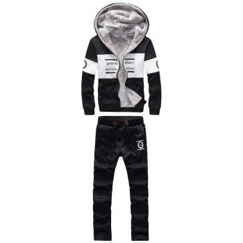 Zip Up Graphic Printed Hoodie and Sweatpants Twinset