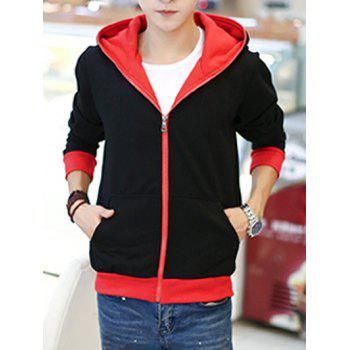 Sportive Zipper Up Color Block Hoodie