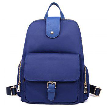 Nylon Buckle Strap Side Zip Pockets Backpack