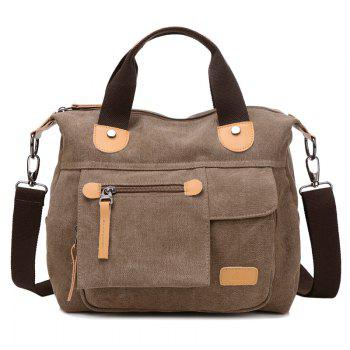 Casual PU Spliced Canvas Handbag