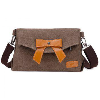 Fold Over Canvas Bowknot Crossbody Bag