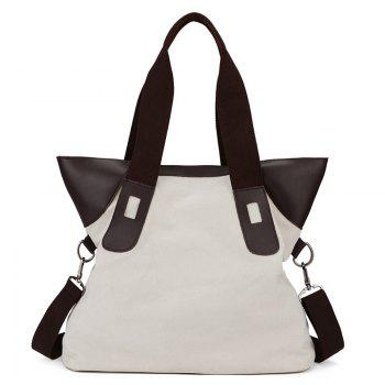 PU Leather Spliced Canvas Shoulder Bag