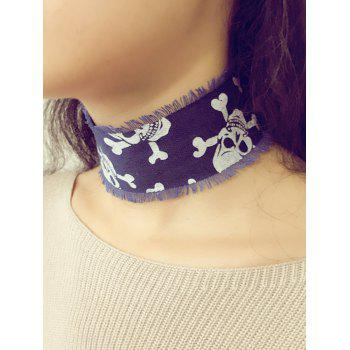 Vintage Crossbones Denim Fringe Choker Necklace