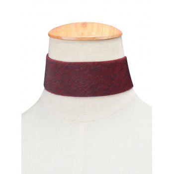 Artificial Leather Velvet Choker - BURGUNDY