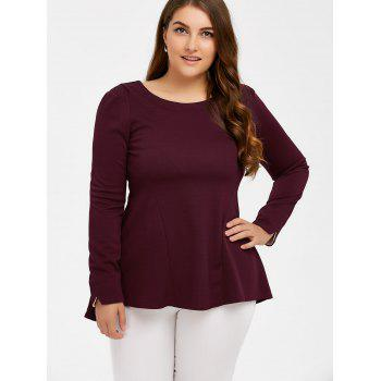 Long Sleeve Skirted Top - WINE RED XL