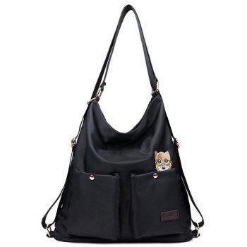 Cat Embroidery Nylon Shoulder Bag