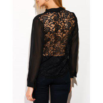 See Through Lace Back Spliced Blouse