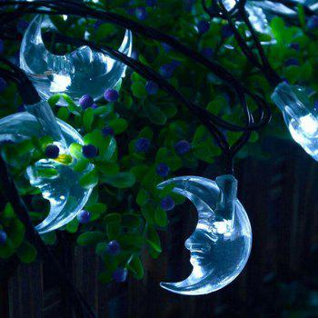 Party Decoration 4.8M Christmas Solar Power Moon LED String Light - WHITE