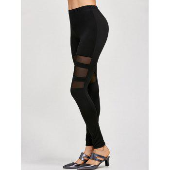 Mesh Insert Stretchy Leggings - BLACK ONE SIZE