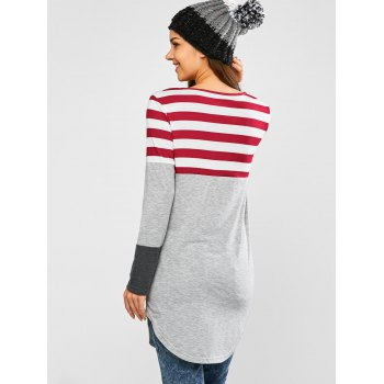 Striped Insert Longline Tee - GRAY/RED S
